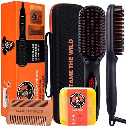 Tame s Elite Beard Straightener Brush Kit Anti Scald Heated Beard Brush Straightener Beard Soap product image