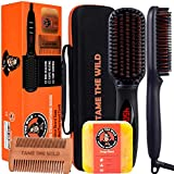 TAME THE WILD Elite Beard Straightener Brush Kit-ION Technology-Portable Anti-Scald Heated Beard Brush Straightener-Beard Soap -Pearwood Comb - Storage Case Included - Best for Beards Over 2in Long