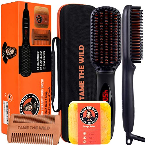Tame's Elite Beard Straightener Brush Kit - Anti-Scald Heated Beard Brush Straightener - Beard Soap...