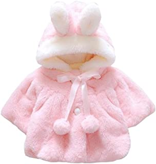 Infant Baby Girls Plush Thick Warm Autumn Winter 3D Cartoon Rabbit Ear Hooded Coat Cloak Jacket Outerwear Clothes