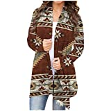 2021 Women's Santa Snowman Cardigan Christmas Long Sleeve Open Front Sweater Flowy Hem Cardigan Coats Plus Size