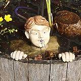 Gartenzaubereien Wasserspeier Kopf mit Händen inkl. Pumpe