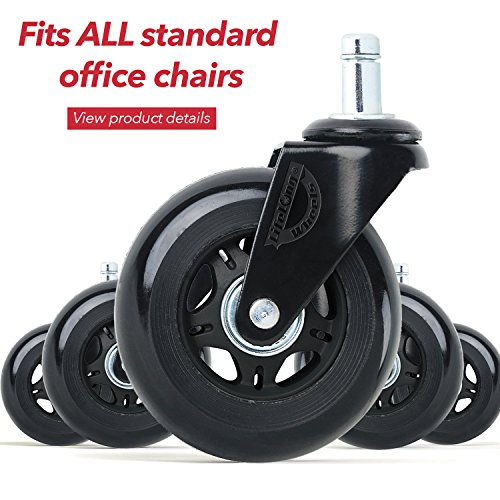 """Office Chair Wheels Replacement Desk Chair Casters for Hardwood Floors and Carpet, Set of 5, Heavy Duty Office Chair casters for Chairs to Replace Chair mats- universal fit (stem size is 5/16"""" x 7/8"""")"""