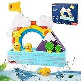 colmanda Badespielzeug für Babys, Badewannenspielzeug mit Bechern, Wasserfall Wasserstation Wasserspray, Wandspielzeug Badespaß Wasserspielzeug Badewanne Geschenk für Kinder Mädchen Baby