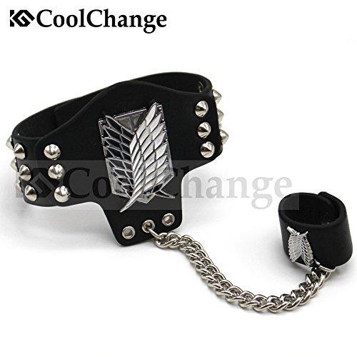 CoolChange Attack on Titan PU-Leder Armband mit Fingerring und Nieten