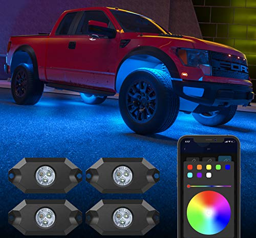 Govee RGB Led Rock Lights, App Control, Multicolor, Music Mode, Dimmable, 4 Pods Underglow for Car