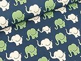 S&W Baumwolljersey Elephant Parade bunt auf Lapis Blue