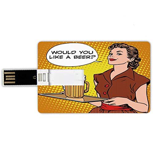 64GB Chiavette USB a forma di carta di credito Musica Memory Card stile carta di credito Simpatico floreale con chiave di violino e canto degli uccelli in volo,passeri art,castano bianco marrone Penna
