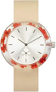 [アナログウォッチコー] 腕時計 ボタニスト かすみ草 (橙色) クリーム色革バンド 正規輸入品