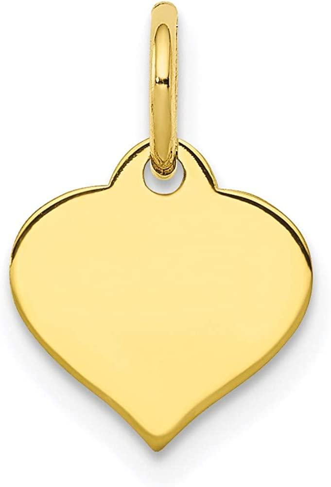 10k Yellow Gold .018 Gauge Heart Disc Pendant Charm Necklace Engravable Curved Shaped Love Fine Jewelry For Women Gifts For Her