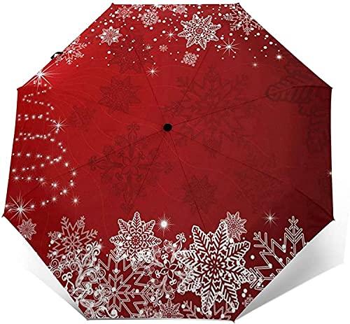 Paraguas Automático De Tres Pliegues, Protector Solar Personalizado, Impermeable, Resistente, Resistente Al Viento, Para Viajes, Ligero, Para Mujeres Y Hombres, Árbol De Navidad, Copo De Nieve, Rojo