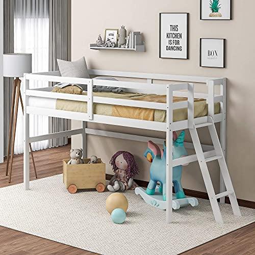 Niskie łóżko na poddaszu, drewniana rama łóżka podwójnego z drabiną i poręczami, bez sprężyny skrzynkowej, łatwy montaż, idealne dla dzieci i młodych nastolatków (białe)