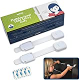 Wittle Child Safety Cabinet Locks (8 pk, White, Clear Straps, 4 Bonus 3M Adhesives) - Baby Proof Cabinet, Cupboard, Drawer, Appliance and More - Simple to Use - Quick No Tools Installation