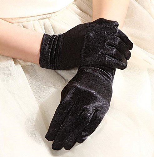 『(SOWAKA) コスプレ 小物 手袋 サテン ストレッチ ショート グローブ フリーサイズ (ブラック)』の2枚目の画像