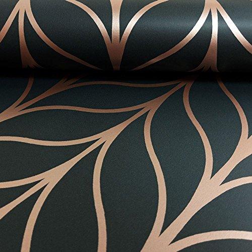 Holden Decor, Black Rose Gold, Holden Shimmering Geo Striped Wallpaper Art Deco Trellis Metallic Motif 50061