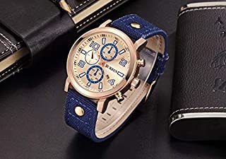 CURREN Watch Blue Canvas and Beige frame Model M8199