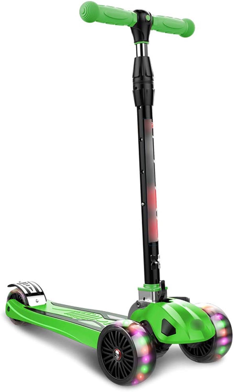 mejor calidad mejor precio LiPengTaoShop Scooter de Niños Scooter Scooter Plegable Plegable Plegable Scooter Plegable Scooter Plegable de Tres Ruedas Adecuado para Niños de 2-16 años (Color   verde)  punto de venta barato