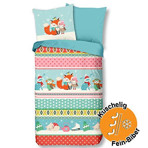Aminata Kids Bunte Biber-Wende-Bettwäsche-Set Fuchs Weihnachten 135x200 cm + 80x80 cm aus Baumwolle mit Reißverschluss, Kinder-Bettwäsche mit Winter-Motiv ist weich, warm, Rauten, Eulen-Motiv, Eule