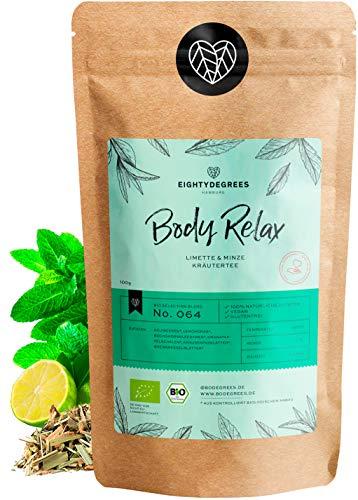Body Relax Kräutertee BIO 100g - Loser Abend-Tee - mit Goji + Lemongras + Brennnesselblätter - Limette & Minze Geschmack - 100% bio, natürlich | 80DEGREES