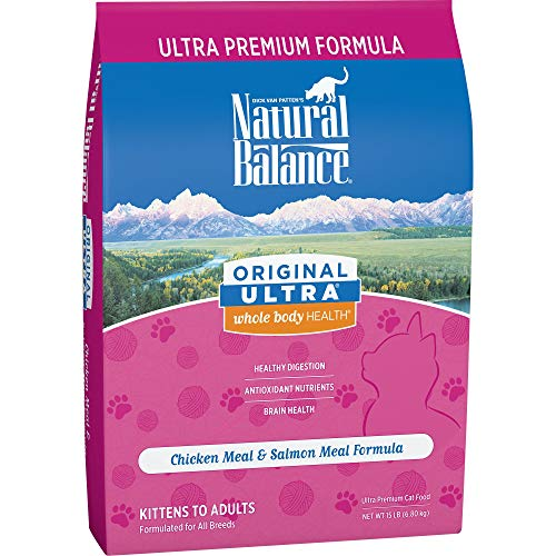 Natural Balance Original Ultra Whole Body Health Dry Cat Food, Chicken Meal & Salmon Meal Formula, 15 Pounds