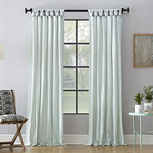 "Archaeo Washed 100% Cotton Twist Tab Curtain, 52"" x 63"" Panel, Seafoam Green"