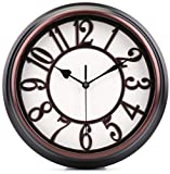 LAWEI 12 Inch Round Classic Wall Clock Retro Silent Non-Ticking Quartz Decorative Wall Clock for Living Room Bedroom Kitchen Home Office