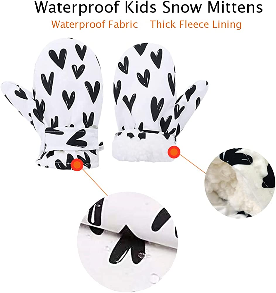 Kids Snow Ski Mittens, Toddler Fleece Lined Winter Waterproof Gloves for 4-6Y