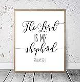 Holzgerahmtes Schild, The Lord Is My Shepherd, Psalm 23:1, Bibelvers Wandkunst, christliche Geschenke, Skriptur, Wanddekoration, Kinderzimmer, Bibelzitate, Wanddekoration, 30 x 55 cm