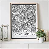 YGWDLON Kuala Lumpur Stadtplan Nordic Wohnzimmer Dekoration