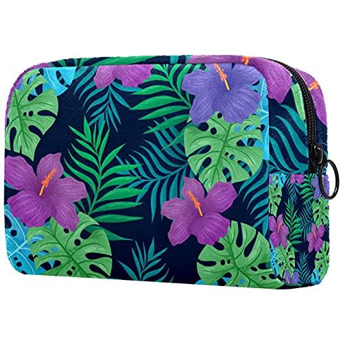 Bolsas de maquillaje de belleza portátil bolsa de cosméticos de viaje bolsa de cuero multifunción con cremallera bolsas de aseo para mujer flores tropicales naturales