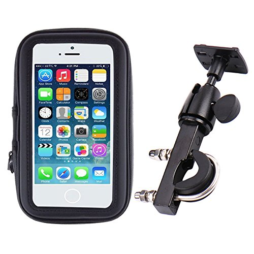 iBroz - Soporte Moto universal, Escúter (Scooter) etc... o Bicicleta Fijación Potente en Manillar con Varilla Rígida (rotación 360°) y Funda Hermética para iPhone 5, iPhone 6, SAMSUNG GALAXY S4, S5 .. (Anchura Máx : 7 cm – Altura : 13,8 cm) …