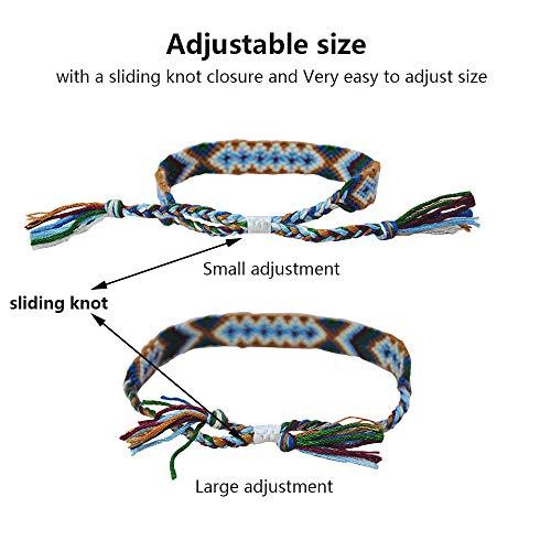 Tangser Nepal Woven Friendship Bracelets with a Sliding Knot Closure for Women, Kids, Girls, VSCO Girl and Men – Adjustable - Mix Color Random(Pack of 12)