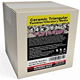 5 lbs Ceramic Triangular 1/4 x 3/8 for Deburring and Edge-Rounding Media for Steel, Stainless Steel, and Hard Metals - Liquid Finishing Compound and Clean, Dry and Store Bag Included