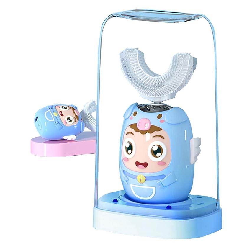 子猫カウントアップ筋電動歯ブラシ 360°自動歯ブラシ U型 音波 ワイヤレス充電 こどもユニークな U字型10秒で歯磨き 歯ブラシヘッド付き あなたの手を解放 磁気吸引接続 歯,ブルー