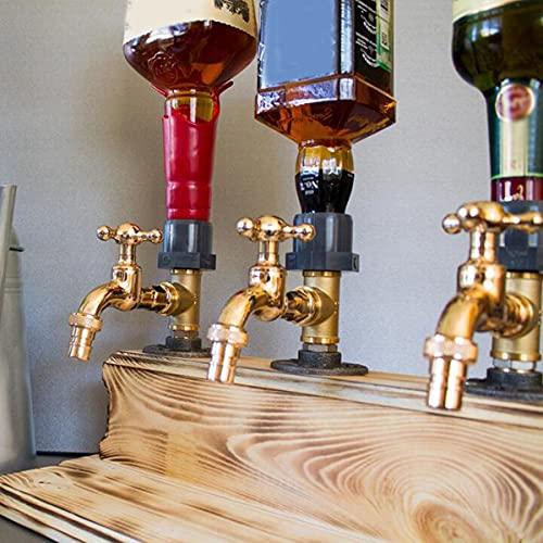 K99 Dispensador De Madera De Whisky Forma De Grifo Dispensador De Licor De Pie Portabotellas Regalo del Día del Padre para Cenas De Fiesta Bares Y Estaciones De Bebidas,Three