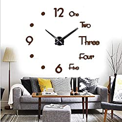 FASHION in THE CITY Large 3D Frameless Wall Clock Stickers DIY Wall Decoration for Living Room Bedroom Office (Coffee)