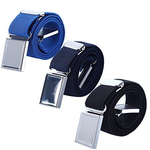 3 PCS Kids Adjustable Magnetic Belts - Easy to Use Magnetic Buckle Belt for Boys and Girls (Royal blue/Navy blue/Black)