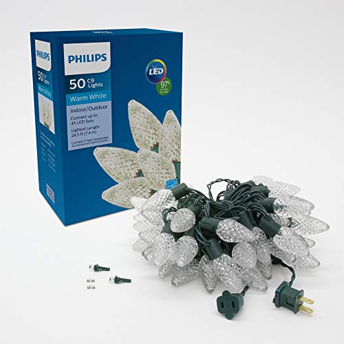 Philips 50ct LED C9 Christmas Lights, Warm White