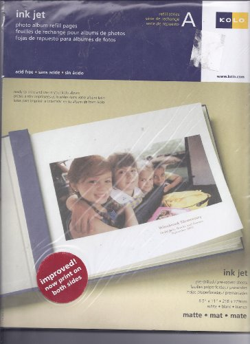 Kolo InkJet matte photo pages for 8½ x 11 albums - Series A pkg 10 - 8.5x11