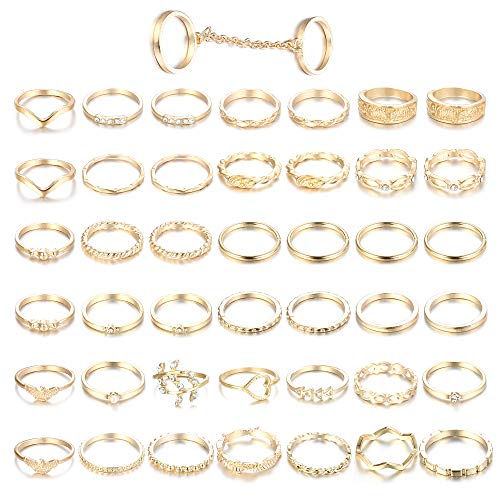ORAZIO 43PCS Knuckle Rings for Women Mid Finger Stackable Rings Set Gold Tone
