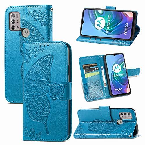 JIUNINE Hülle für Motorola Moto G30 / G20 / G10, Handyhülle Leder Flip Hülle mit Schmetterling Muster [Kartenfach] [Magnetverschluss] Schutzhülle Tasche Cover Lederhülle für Moto G30, Blau