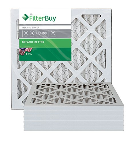 FilterBuy 12x12x1 Air Filter MERV 8, Pleated HVAC AC Furnace Filters (6-Pack, Silver)