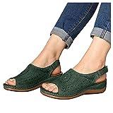 Sandalias Cuña para Mujer Zapatos con Boca Pez Zapatos Playa Verano Casual Sandalias Cómodas Y Transpirables Zapatos Casuales Al Aire Libre Zapatos para Caminar Sandalias Velcro