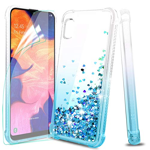 Tmacker Samsung Galaxy A10E Case,Samsung Galaxy A10E Phone Case with 2 PCS HD Soft Screen Protector,TPU Glitter Quicksand Shockproof Protective Phone Cover for Girls Women-Teal