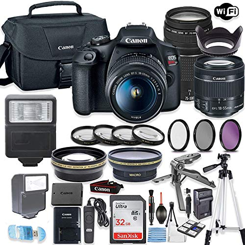 Canon EOS Rebel T7 Camera w/Canon EF-S 18-55mm is II Lens & 75-300mm f/4-5.6 III Lens + 32GB Sandisk Memory + Canon Case + High Speed Slave Flash + Accessory Bundle