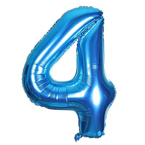 Smarcy Globos Número 4 Decoración de Cumpleaños 4 Años Fiesta de Cumpleaños (Azul)