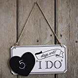 Ginger Ray Wooden Wedding Countdown Chalkboard Sign, Vintage Affair