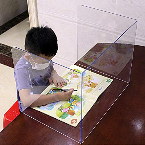 Plexiglass Shield Three-Sided U-Shaped Folding Dining Table Desk top Isolation partition Partition partition Student Desk Baffle Protective Sneeze Shield, Transparent Acrylic Shield