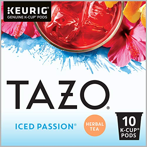 Tazo Sweetened Iced Tea for K-Cup, Passion Herbal Tea , 10 count (Pack of 6) (Packaging may vary)