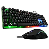 The G-Lab Combo Zinc Pack de Teclado Gaming USB y Ratón Multicolor Retroiluminación – Teclado Gaming QWERTY - Incluye Anti-Ghosting + Ratón Gaming 6 Botones 2400 dpi – PC PS4 Xbox One (Negro)